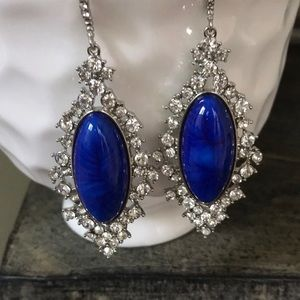 Jewelry - Crystal and Blue stone earrings